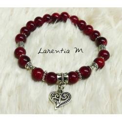 Bracelet perles de verre 8mm rouges, perles métal argentées, coeur argenté, élastique