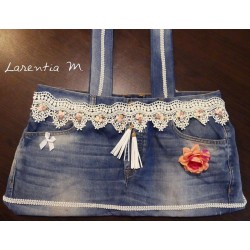 Handbag made from jeans, ribbon pompoms, 2 cords suede, flower fabric