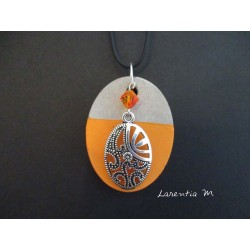 "Pendant Necklace ""Oval"" with orange Swarovski cristal on oval concrete pad painted orange"