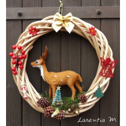 Wicker Christmas wreath 29cm with large suede 15cm, fir, pine cones, ribbon .