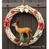 Couronne de Noël Osier 29cm avec grand daim 15cm, sapin, pommes de pin, ruban…