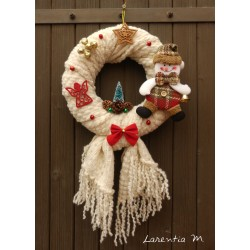 Christmas wreath 25 cm gray and beige wool, felt roses, reindeer