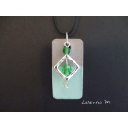 "Pendant Necklace ""Square"" with green pearls on rectangle concrete pad painted green"