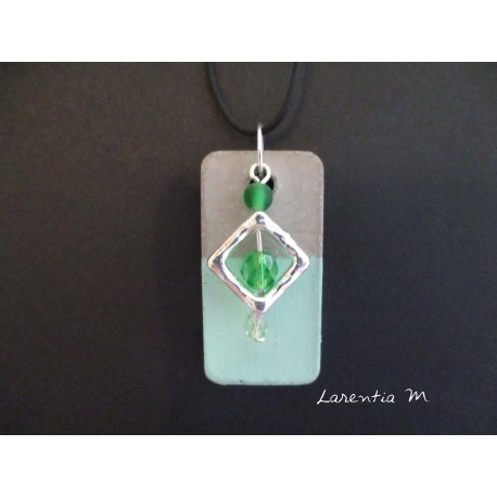 """Pendant Necklace """"Square"""" with green pearls on rectangle concrete pad painted green"""