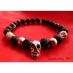 Bracelet black lava beads, ivory stone and silver buddha head