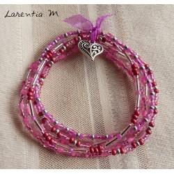 Bracelet 5 rangs en perles de rocaille tons roses-argent, coeur ancien argenté