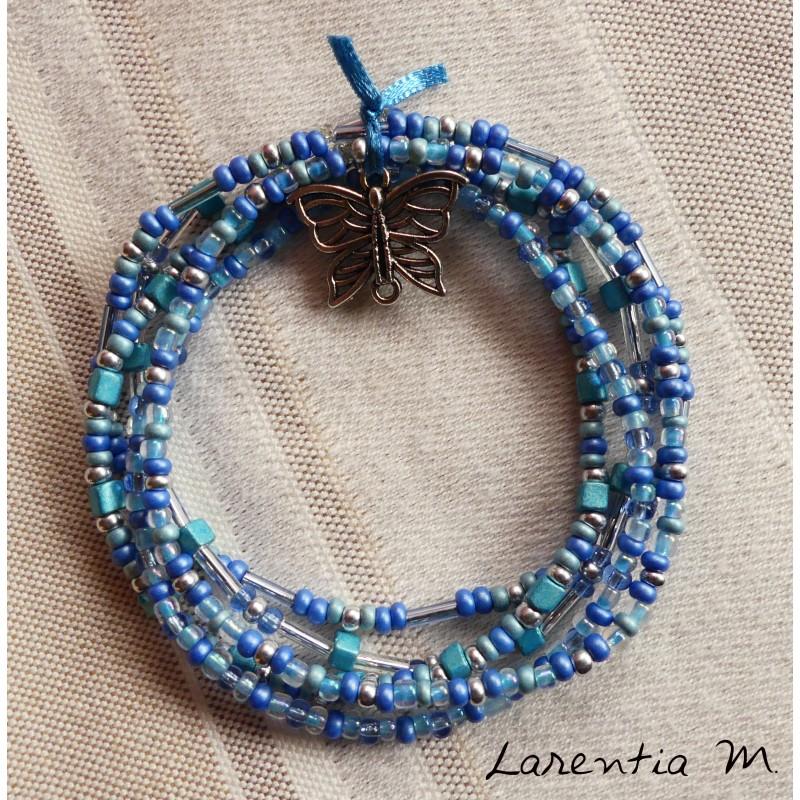 Bracelet 5 rangs en perles de rocaille tons bleus-or, fée sur lune or