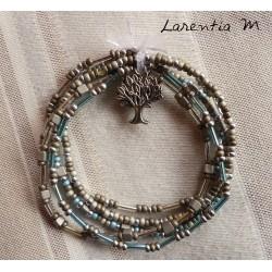 Bracelet 5 rangs en perles de rocaille tons bleus-argent, papillon argenté