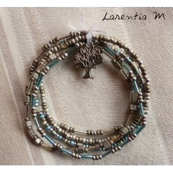 Bracelet 5 rows in seed beads gray-blue-silver tones, silver tree of life