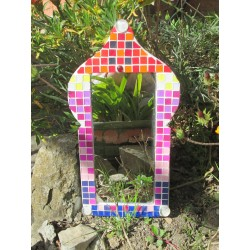 Mirror paper mache, painted, decorated with plastic mosaic