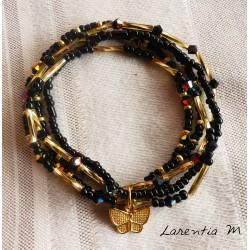 BBracelet 5 rangs en perles de rocaille tons marrons-or, arbre de vie doré