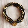 Bracelet 5 rangs en perles de rocaille tons noir-or, papillon doré