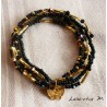 Bracelet 5 rows in seed beads black-gold tones, golden butterfly