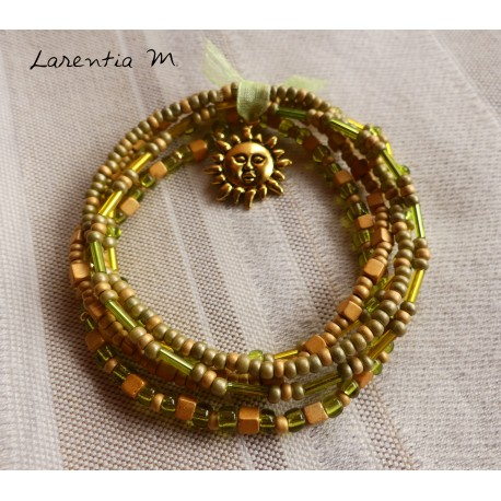 Bracelet 5 rows in seed beads brown-gold tones, golden tree of life