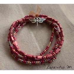 Bracelet 5 rangs en perles de rocaille tons rose-argent, libellule argentée