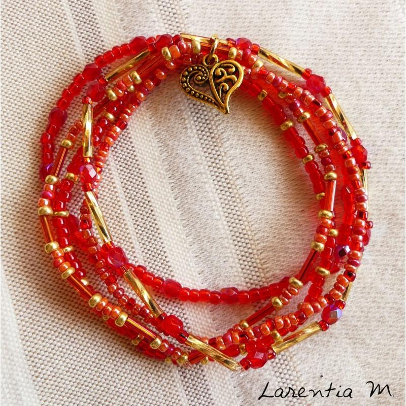 Bracelet 5 rangs en perles de rocaille tons rose-argent, papillon argenté