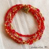 Bracelet 5 rows in seed beads red-gold tones, golden heart