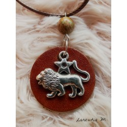 Round brown leather pendant necklace, silver lion sign, jasper pearl, brown cord