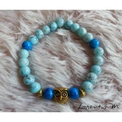 Bracelet perles de verre 8mm tons bleus, chouette dorée, élastique