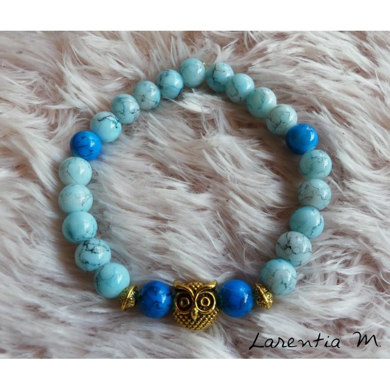 Bracelet glass beads 8mm blue tones, golden owl, elastic