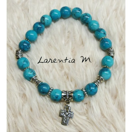 Bracelet 8mm turquoise glass beads, cross and silver beads, elastic