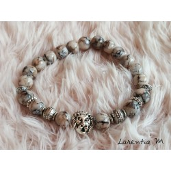 Bracelet 8mm black, beige, gray glass beads, silver metal beads-lion