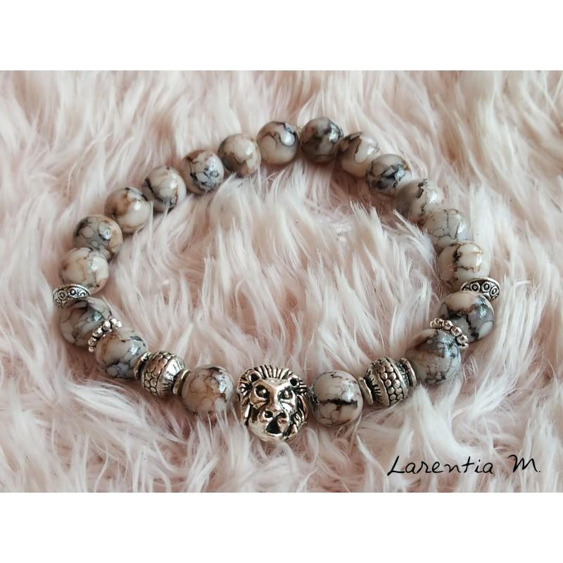 Bracelet 8mm black, beige, gray glass beads, silver metal beads-lion