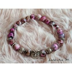 Bracelet perles de verre 8mm rose-beige-marron, chouette et perles argentées, élastique