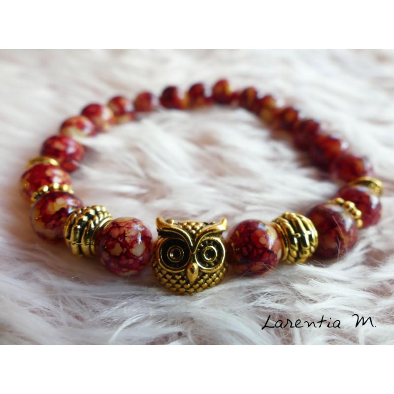 8mm rust-beige glass beads bracelet, owl and golden beads, elastic