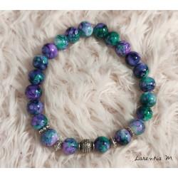 Bracelet perles verre 8mm violet-vert, perles métal argenté, élastique