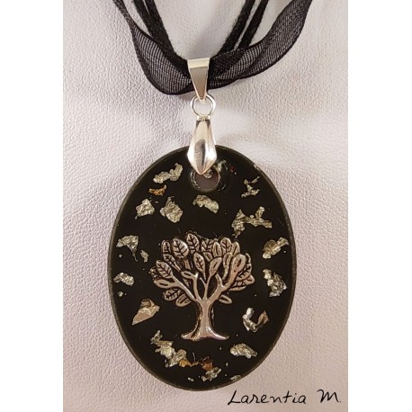 Black resin pendant necklace with silver tree of life and silver metal leaf, black organza ribbon