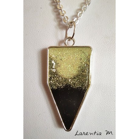 Black / silver glitter resin pendant necklace, on silver brass chain