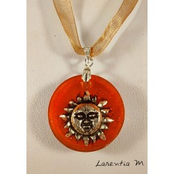Orange resin pendant necklace, silver sun, organza ribbon with clasp