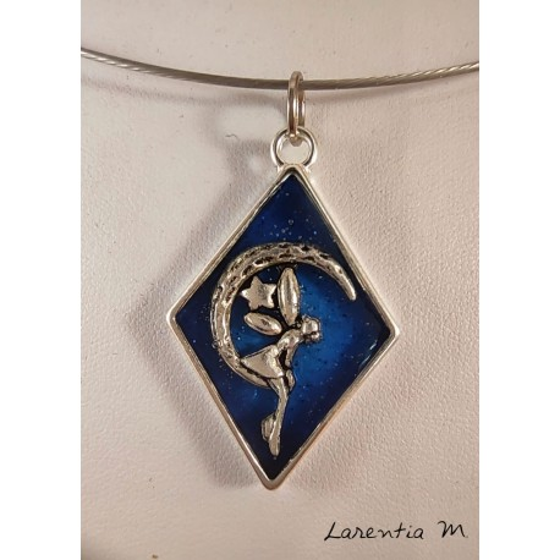 Blue resin pendant necklace, fairy on silver moon, silver rigid choker