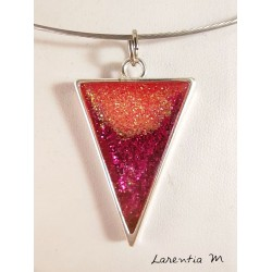 Fuchsia-pink glitter resin pendant necklace, on a rigid silver choker