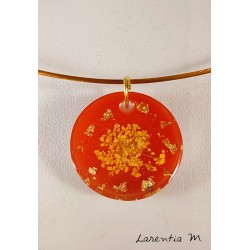 Orange resin pendant necklace, yellow dried flower, rigid golden choker