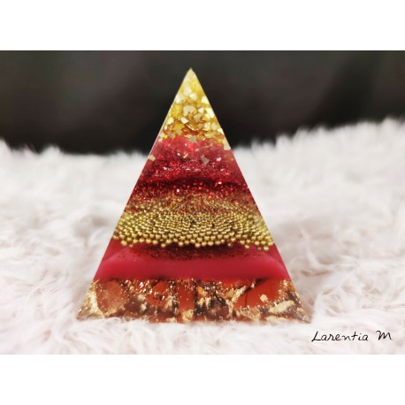 Resin pyramid, glass beads, red sequins, natural stones