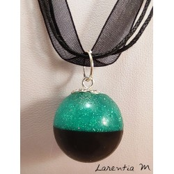 Blue glitter resin sphere pendant necklace, silver brass chain