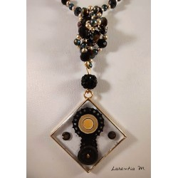 Black and gold Bohemian crystal bead long necklace, resin pendant with lace and rhinestones, enamels - 65 cm