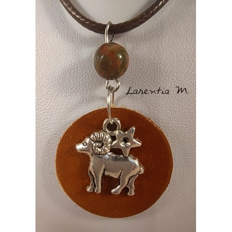 Round brown leather pendant necklace, silver aries sign, jasper pearl, brown cord