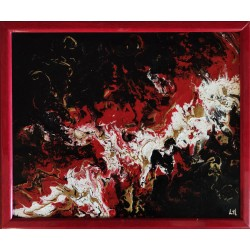Table acrylic painting, pouring technique, white, black and gold tones, framed in red wood 32X26 cm