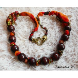 Long necklace 50 cm orange/red beads and feather