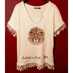 Custom black T-shirt, cotton, cow transfer, crystal rhinestones on the neckline and sleeves (size L)
