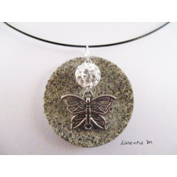 Necklace, pendant silver butterfly with white shamballa pearl on round granite base