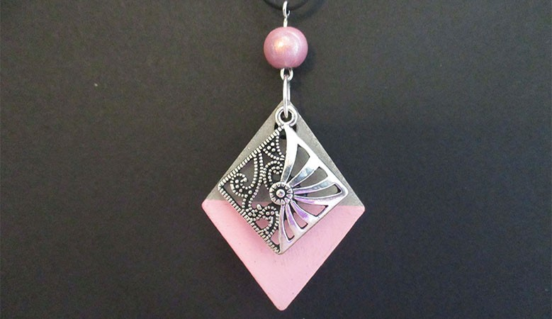 Pink Concrete pendant necklace